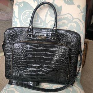 Kate Spade Black Crocodile Laptop Briefcase
